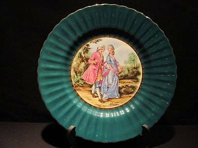 Royal Victoria Wade Pottery England Vintage Dark Green Plate Artist Signed