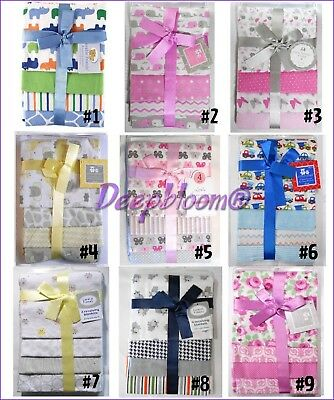 Receiving Blankets Set 4 Cotton Pack Baby Boys Girls Unisex Owl Cars Jungle New