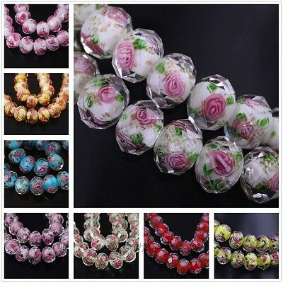 Hot 10pcs 12mm Flower Inside Faceted Rondelle Loose Lampwork Glass Spacer Beads