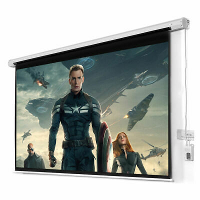 "New 100"" 16:9 HD Foldable Electric Motorized Projector Screen + Remote"