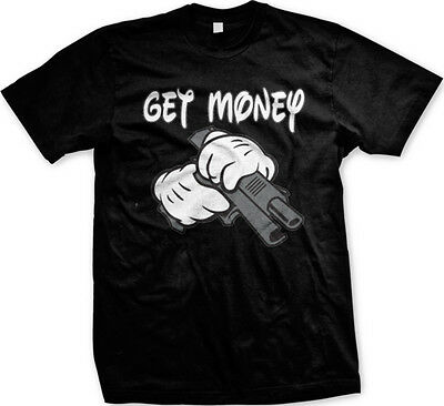 Get Money Cartoon Hands Gun Thug Swag Urban Hip-Hop Rap Lyrics Mens T-shirt