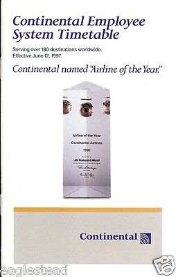 Airline Timetable - Continental - 12/06/97 - Employee System - S