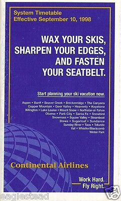 Airline Timetable - Continental - 10/09/98 - S