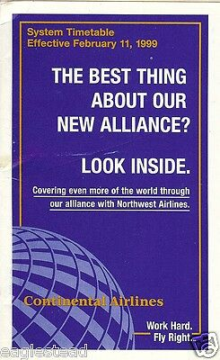 Airline Timetable - Continental - 11/02/99 - S
