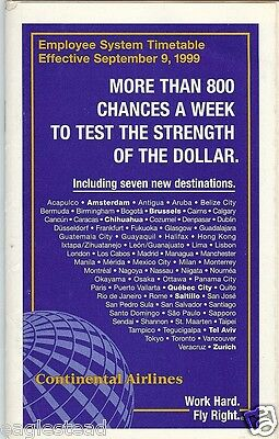 Airline Timetable - Continental - 09/09/99 - Employee System - S