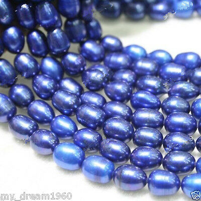 "Rare Huge 10-11mm Blue Oval Freshwater Pearl Loose Beads Strand 15""AAA"