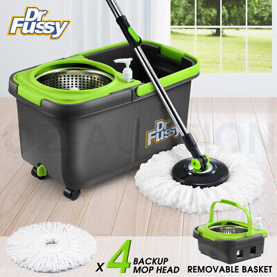 360 Degree Spinning Mop &Stainless Steel Spin-Dry Bucket w/ 2 Mop Heads Free
