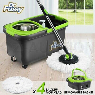 360 Degree Spinning Mop &Stainless Steel Spin-Dry Bucket w/ 3 Mop Heads Free