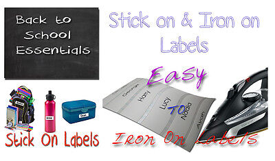 50 Stick On & 50 Iron On School Name Labels Tags Printed Waterproof Tapes