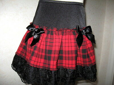 NEW Girls Cool Rock punk goth Black Red Tartan Check Lace Skirt Gift Party