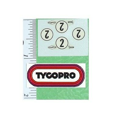 TYCO PARTS #2 TYCOPRO PRO REPLACEMENT WATER SLIDE DECAL SET  RARE  HO SLOT CAR