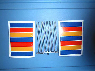 HO SLOT CAR PARTS  TRACKSIDE FLAG POLES AND FLAG STICKERS NOS UNUSED