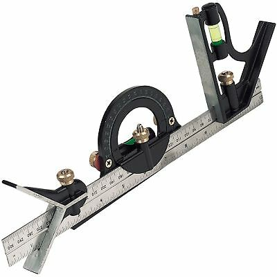 Silverline 991857 300mm Combination Square Set Spirit Level Metric Imperial