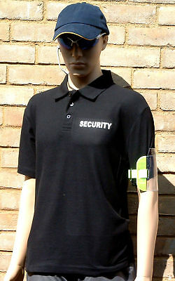 SECURITY-DOORMAN-PRINTED T -POLOSHIRT BLACK EXTRA-EXTRA-EXTRA LARGE (xxxl)