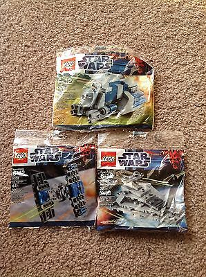 Lego Star Wars Poly Bag 3 Lot All NEW Sealed Retired 30059 30056 8028 NOS