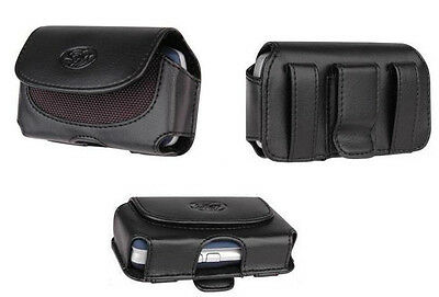 NEW - Leather Carrying Case Pouch Holster Clip with Belt Loops for Cell Phones