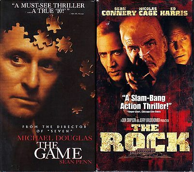 The Game (VHS, 1997) & The Rock (VHS, 1998); 2 Action & Adventure VHS
