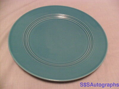 """RARE OLD VINTAGE TURQUOISE 9"""" LUNCHEON PLATE HOMER LAUGHLIN HLC HARLEQUIN FIESTA"""