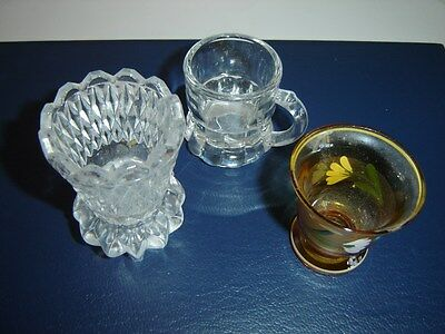 3 VINTAGE TOOTHPICK HOLDERS 1 CRYSTAL PRESSED GLASS 1 HAND PAINTED 1 ROOT BEER