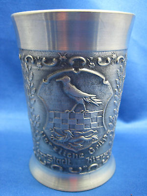 "4 1/4"" Antique German Solid Pewter Embossed & Engraved  Cup 3 Scenes Nice"
