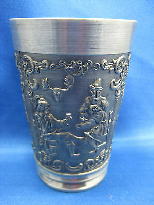 "4 1/4"" Antique German Solid Pewter Embossed & Engraved  Cup 4 Scenes Nice"