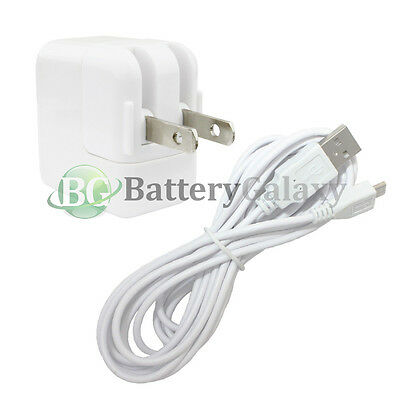 10FT White USB Micro Cable+Wall AC Charger for Amazon Kindle Fire HD HDX 7.0 8.9