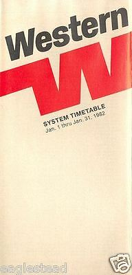 Airline Timetable - Western - 01/01/82 - ATC restrictions