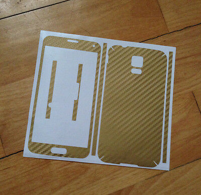 2X Gold Carbon Fibre Skin Sticker Full Body Wrap For Samsung Galaxy S5 G900