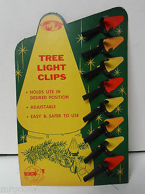 8 Old NOMA Metal Alligator Pinch Clips for Bubble Lights on Original Card   #649