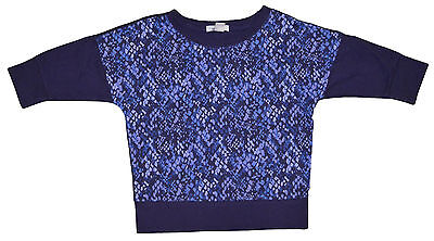 Girl's Old Navy Dark Blue French Terry 3/4 Sleeve Geo Top Sizes XS (5), S (6-7)
