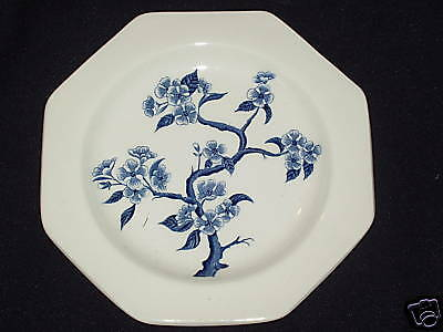 "Meakin Dynasty 6 7/8"" Multisided Plate Blue Branch in Center Liberty Shape"