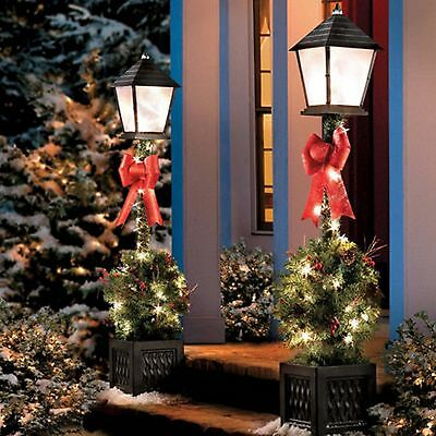 4' Lighted Victorian Lamp Post w Greenery Pre Lit Outdoor Christmas Decor