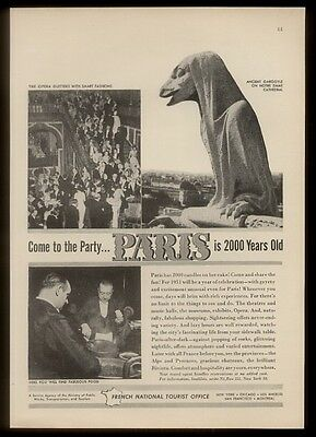 1950 Notre Dame cathedral gargoyle photo Paris 2000 years France travel print ad