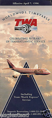 Airline Timetable - TWA - 07/04/96 - B747 Cover