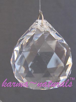 FACETED Clear CRYSTAL Prism 30 mm - Medium Round Sphere Feng Shui Healing Reiki