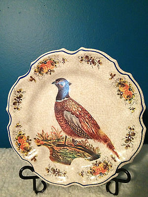 """Lami of Italy 10-3/4"""" Vintage Decorative Pheasant Bird Crackled Plate"""