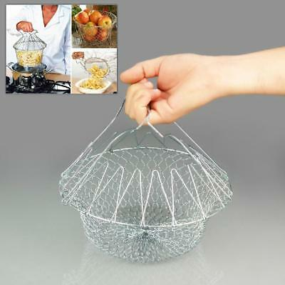 Foldable Strain Chef Fry Frying Basket Strainer Kitchen Tool Rinse Easily LG