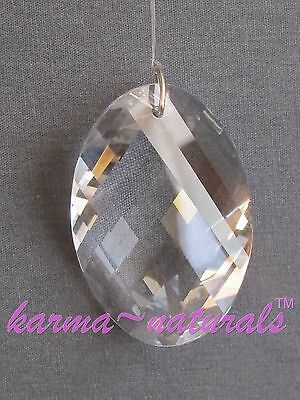 FACETED Clear CRYSTAL Prism 45 mm - Twisted Oval BEST SELLER Feng Shui Reiki