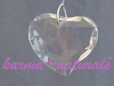 FACETED Clear CRYSTAL Prism 30 mm - Curved Heart Feng Shui Healing Reiki