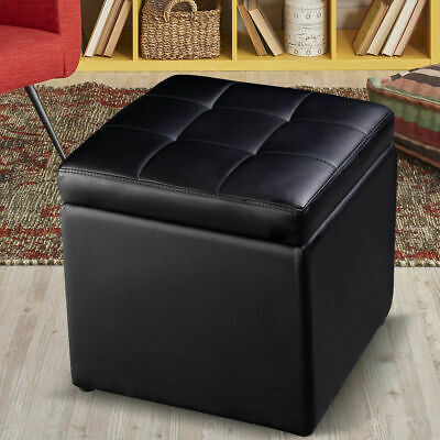 """16"""" Cube Ottoman Pouffe Storage Box Lounge Seat Footstools with Hinge Top New"""