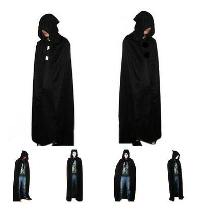 Black Cloak Unisex Coat Halloween custume party Tippet Cape Hoody Hooded Cloak L