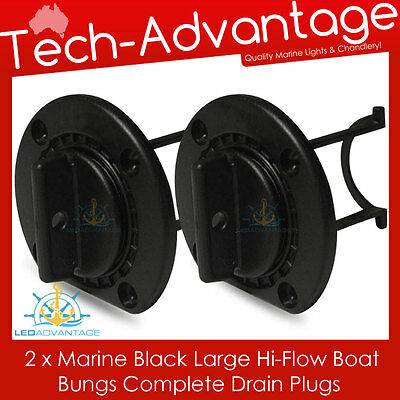 2 X Black Large Boat Marine Grade Uv-Resistant Hi-Flow Boat Bung Bungs & Base