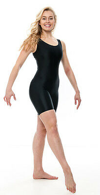 Ladies Girls Black Lycra Sleeveless Dance Catsuit Unitard KDC018 By Katz
