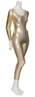 Gold Shiny Metallic Dance Fancy Dress Long Sleeve Catsuit Unitard KDC017 By Katz