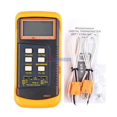 *Dual Two 2 Channel K-Type Digital Thermometer Thermocouple Sensor 1300°C 2372°F