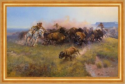 The Buffalo Hunt No. 39 Charles M. Russell Indianer Büffel Jagd B A3 00124