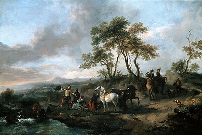 Halt of a Hunting Party Wouwerman, Philips Pferde Jagen Fluß Tiere B A3 00133