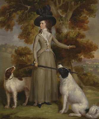 The Countess of Effingham with Gun and Shooting Dogs Jägerin Haugh B A3 00166