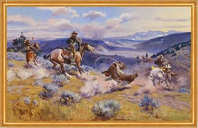 Loops and Swift Horses Charles M. Russell Cowboys Wüste Prärie Jagd B A2 00008