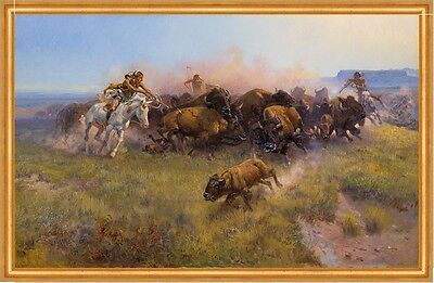 The Buffalo Hunt No. 39 Charles M. Russell Indianer Büffel Jagd B A2 00124